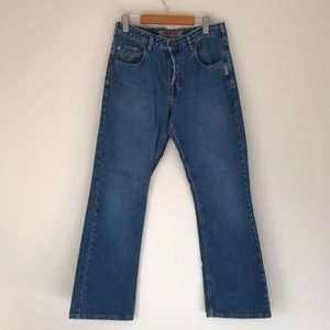 VINTAGE SILVER HIGH RISE BUTTON FRONT JEANS